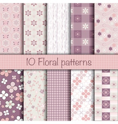 Cute floral seamless patterns collection vector