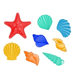 Seashell starfish set vector
