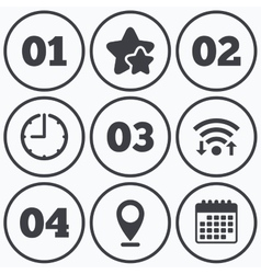 Step one two three icons sequence of options vector