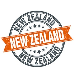 New zealand red round grunge vintage ribbon stamp vector