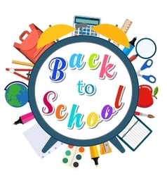 Back to school background with supplies tools vector