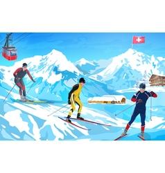 Alps winter mountain welcome card vector