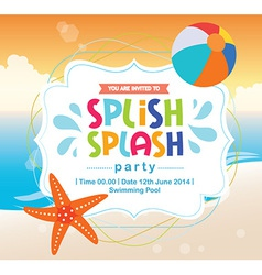 Birthday card invitation summer fun splash beach vector