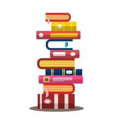 Book flat design heap pile of books vector