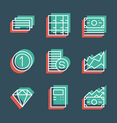 business finance line icon set anaglyph 3d vector image