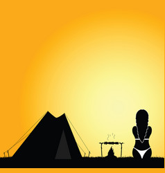 Camping nature with girl in bikini silhouette vector