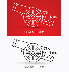 Cannon side view vector