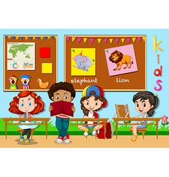 Children learning in classroom vector