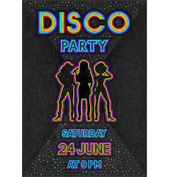 disco poster in a retro 80s style vector image
