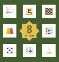 Flat icon games set of guess mahjong xo and vector