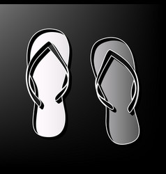 Flip flop sign gray 3d printed icon on vector