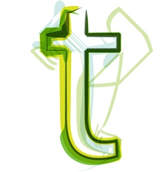 Green letter T vector image