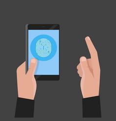 Hand holding phone fingerprint pass concept vector
