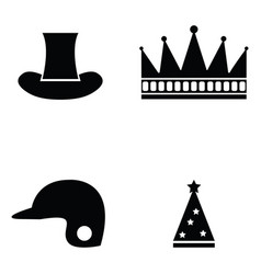 hat icon set vector image vector image