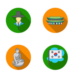 korean in national headdress korean monastery vector image