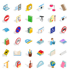 Lamp icons set isometric style vector