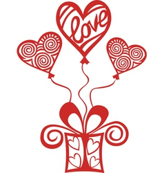 Love balloon present heart vector image