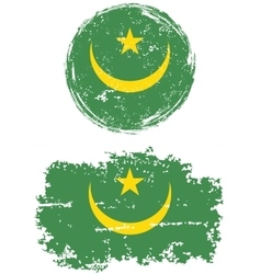 Mauritanian round and square grunge flags vector image vector image