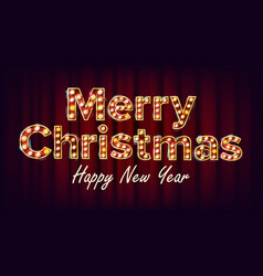 merry christmas sign and happy new year vector image