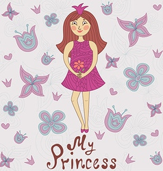 My princess Cute romantic shower card vector image vector image