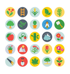 Nature and ecology flat circular icons 3 vector