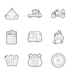 Nature trip icons set outline style vector