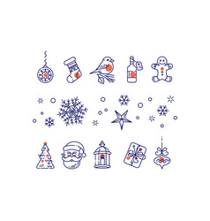 New year line icons set vector