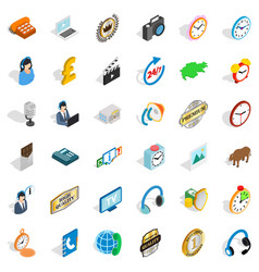 Office work icons set isometric style vector
