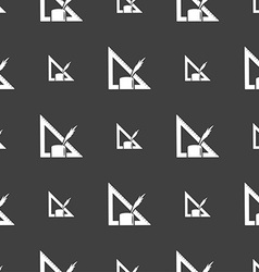 Pencil and ruler icon sign Seamless pattern on a vector image