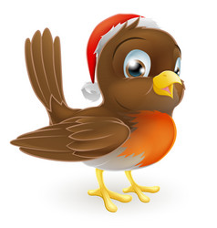 robin bird in a santa hat vector image vector image