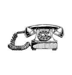 Rotary dial telephone of 1940s vector