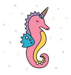 Seahorse unicorn pastel colorful cute creature vector