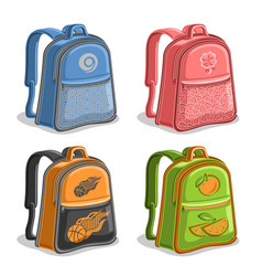 Set colorful kids backpacks vector