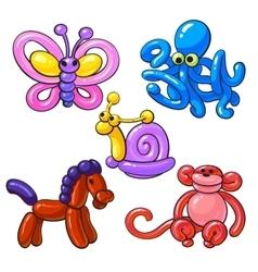 Set of balloon animals - horse octopus monkey vector