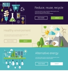 Set of ecological flat modern vector image
