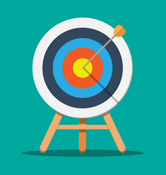target on wooden tripod with arrow in cente vector image
