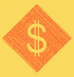 united states dollar sign red scribble vector image