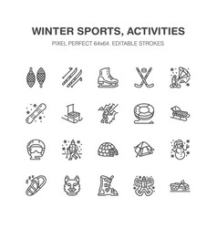 winter sports flat line icons outdoor vector image vector image
