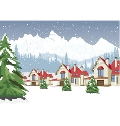 Winter scenery with mountain ski resort vector