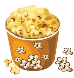 Cardboard popcorn bucket food isolated vector