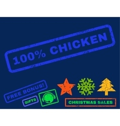 100 percent chicken rubber stamp vector