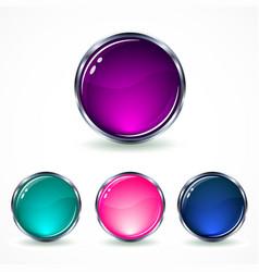 Set glass buttons vector