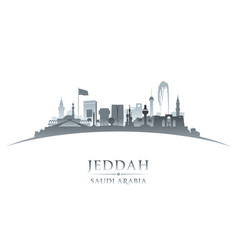 Jeddah saudi arabia city skyline silhouette white vector