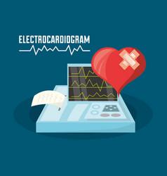 Heart with aid band and exam of cardiac rhythm vector