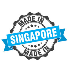 Made in singapore round seal vector