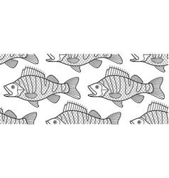 Bass fish contour pattern vector