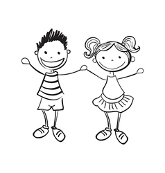 Hand drawn boy and girl vector