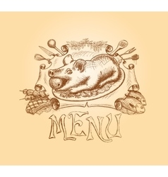 Hand drawn menu title design vector