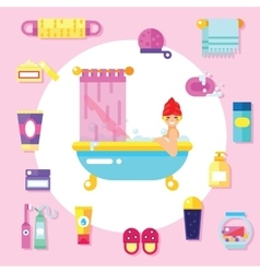 Bath supplies hygiene accessories cosmetics etc vector