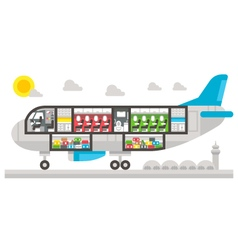 Flat design airplane interior vector